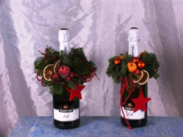 декор бутылок на новый год