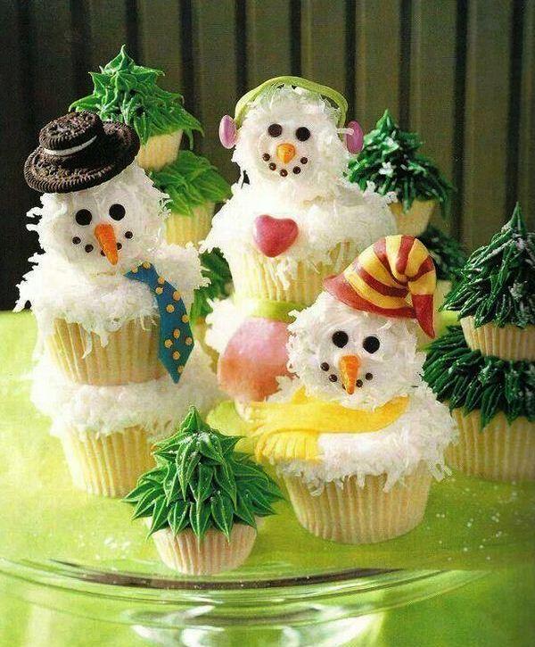 декор новогоднего стола съедобные снеговики