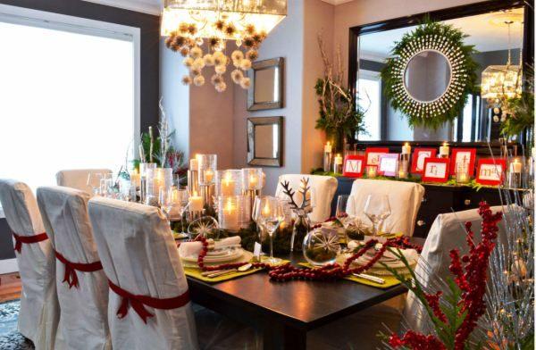 Праздничное украшение новогоднего стола фото