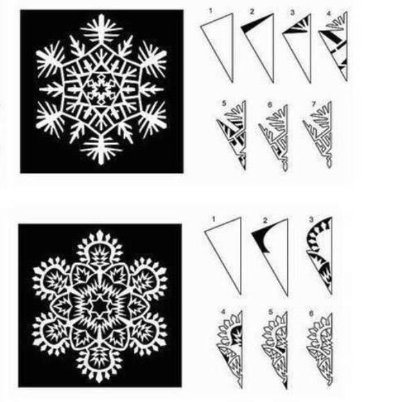 Красивые снежинки из бумаги схемы для вырезания поэтапно, фото 14