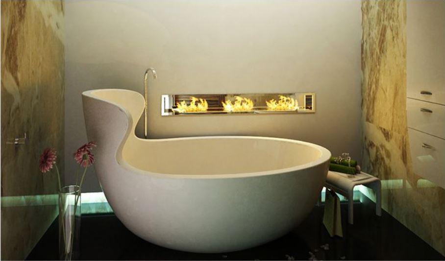 ванная с биокамином