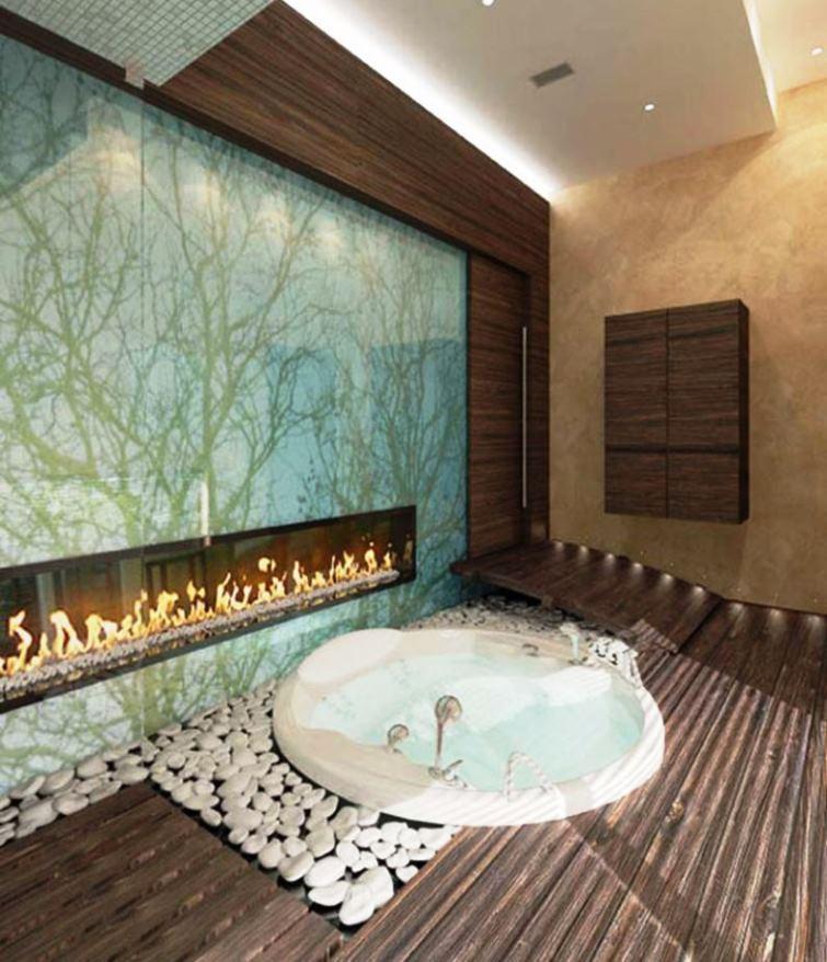 оригинальный камин в просторной ванной