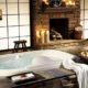 Оригинально, романтично и необычно: ванная комната с камином