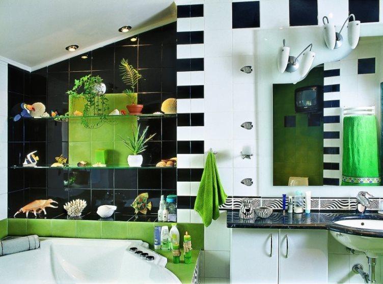черно-зеленый интерьер ванной