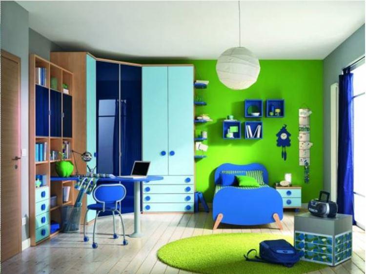 детская в зеленых и синих тонах
